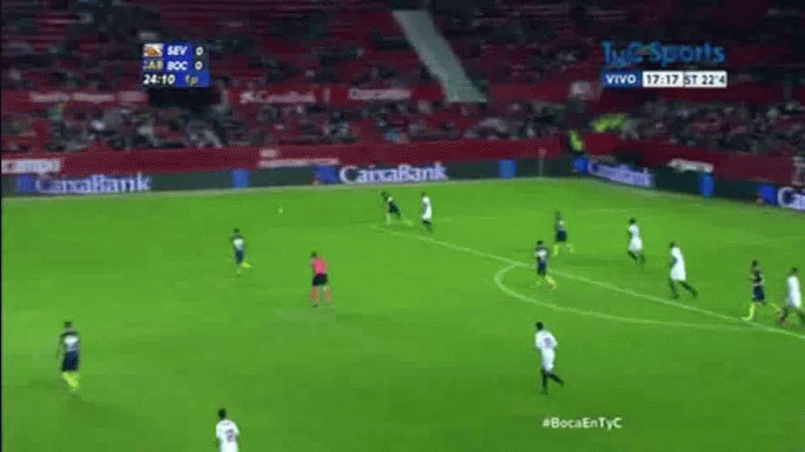 Darío Benedetto anotó el primer gol de Boca ante Sevilla por el certamen Antonio Puerta