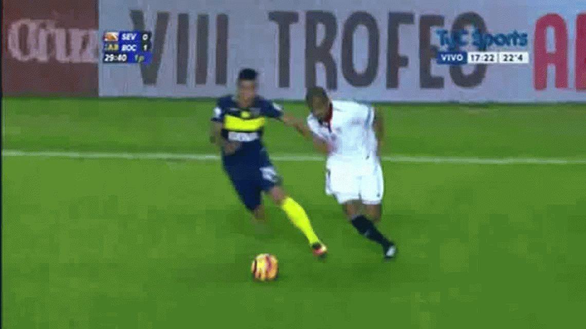 N´onzi anotó el empate parcial del Sevilla ante Boca por el certamen Antonio Puerta