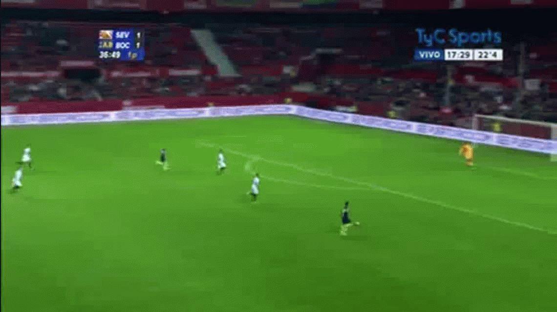 Cristian Pavón anotó el segundo gol de Boca ante Sevilla por el torneo Antonio Puerta