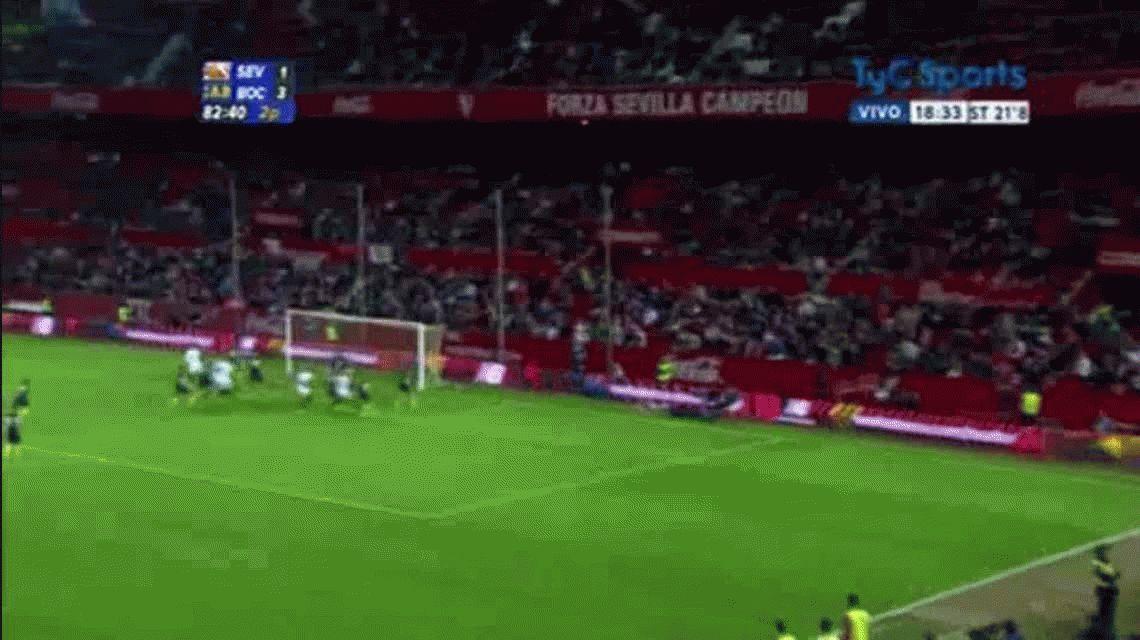 Kolo anotó el segundo gol de Sevilla ante Boca por el torneo Antonio Puerta