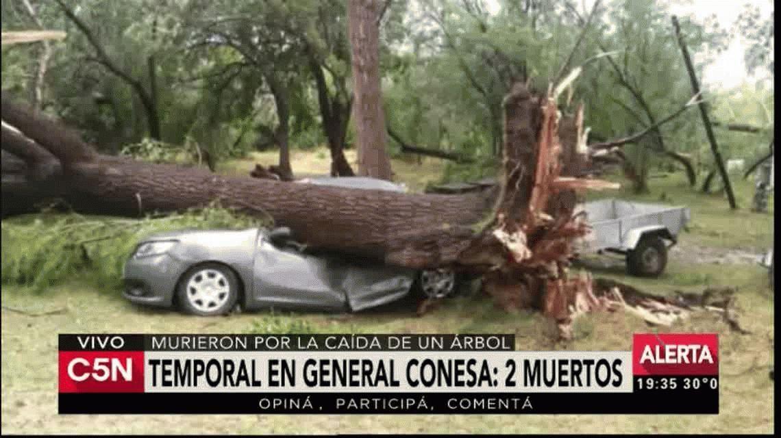 Dos muertos por un temporal de lluvia y viento en Río Negro
