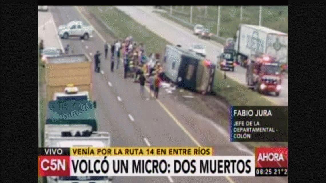 Volcó un micro en Entre Ríos: hay al menos dos muertos y 15 heridos