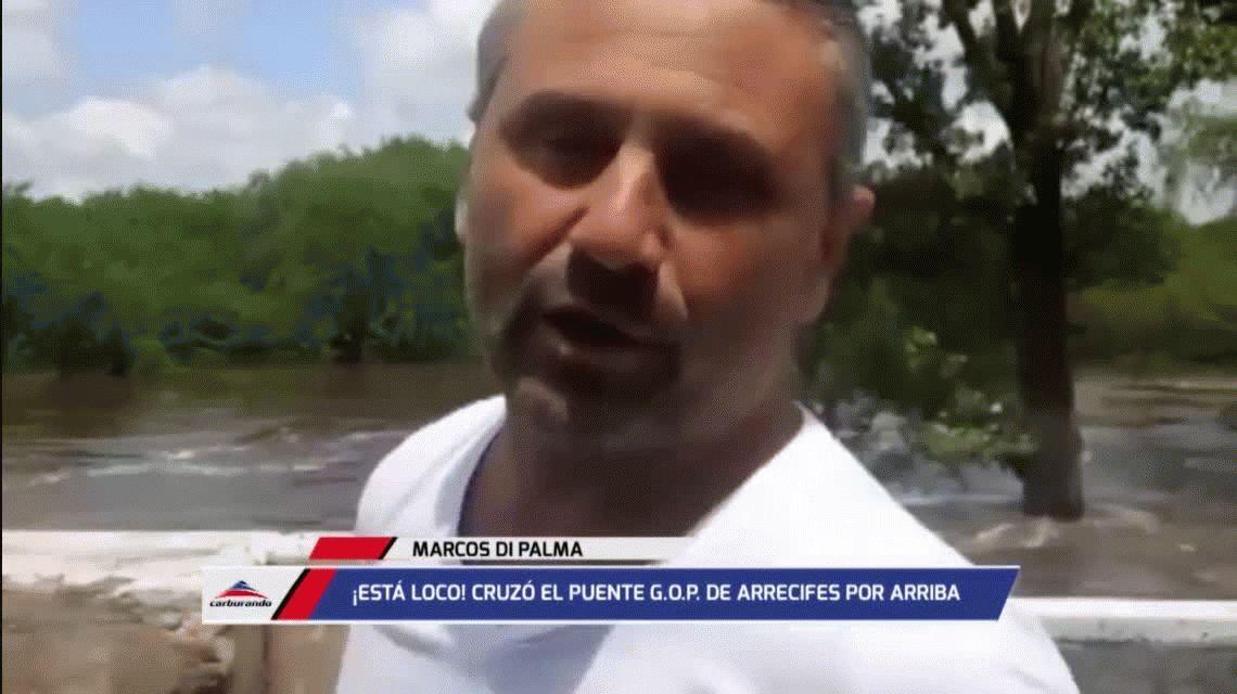 Otra locura de Marcos Di Palma: cruzó corriendo por un puente en Arrecifes