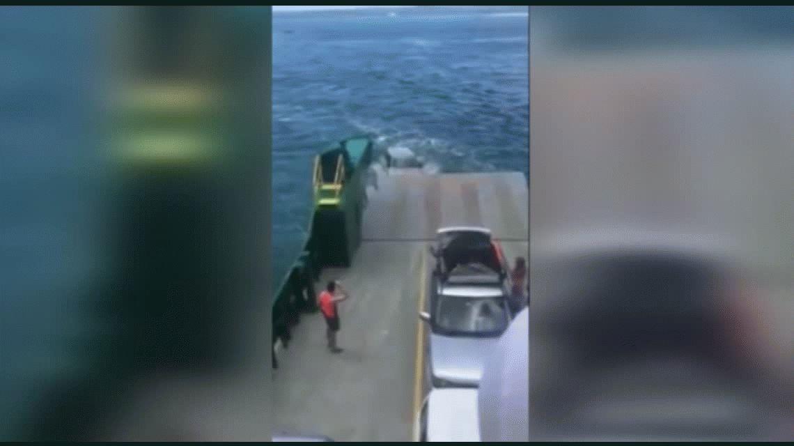 Un auto se cayó de un barco al mar por no estar bien asegurado