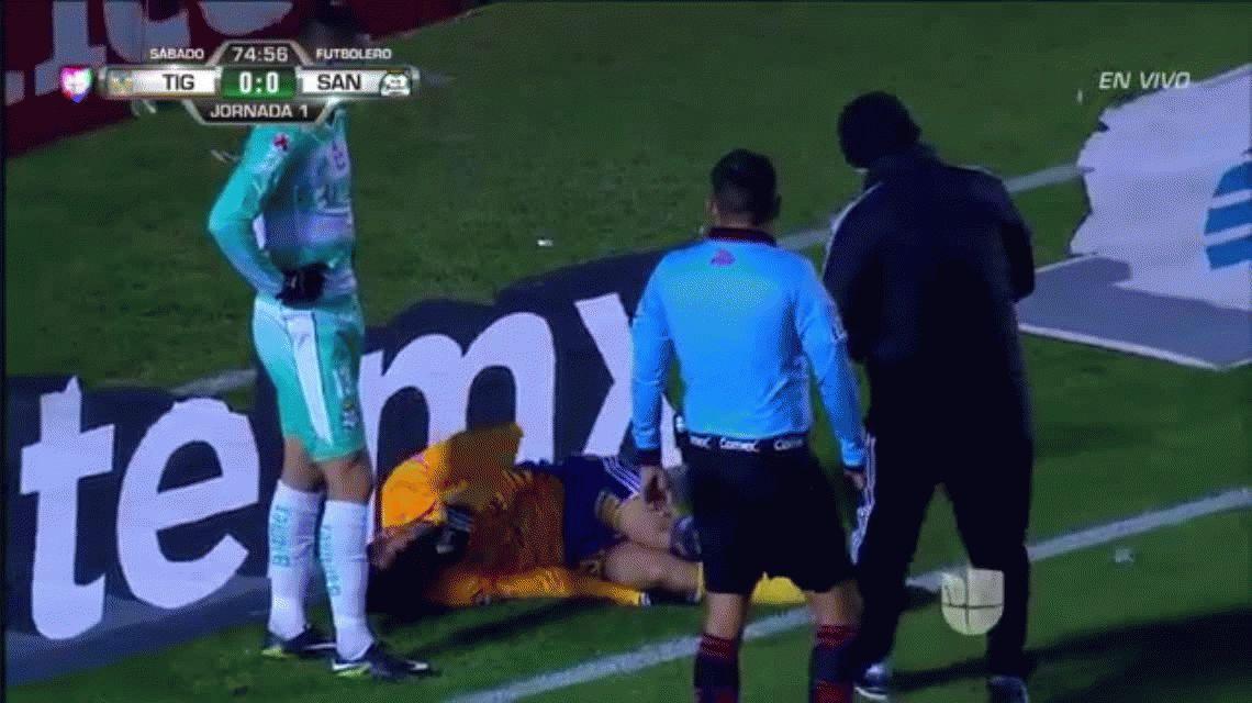 Impresionante lesión de Luis Martínez en Tigres de México
