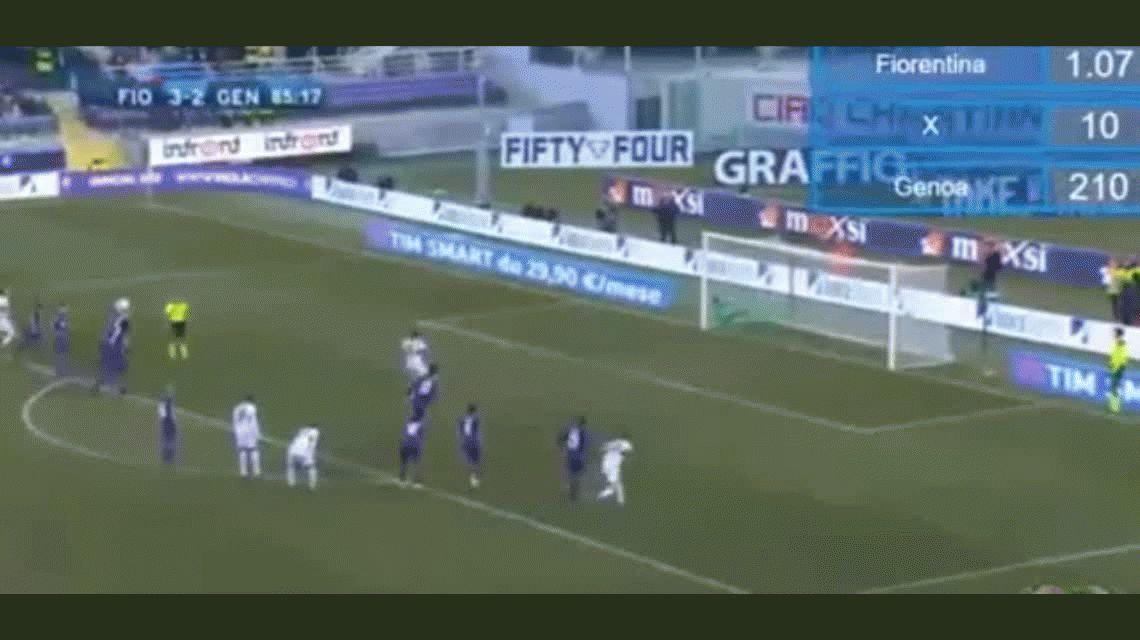 Gio Simeone anotó un doblete en el empate de Genoa ante Fiorentina