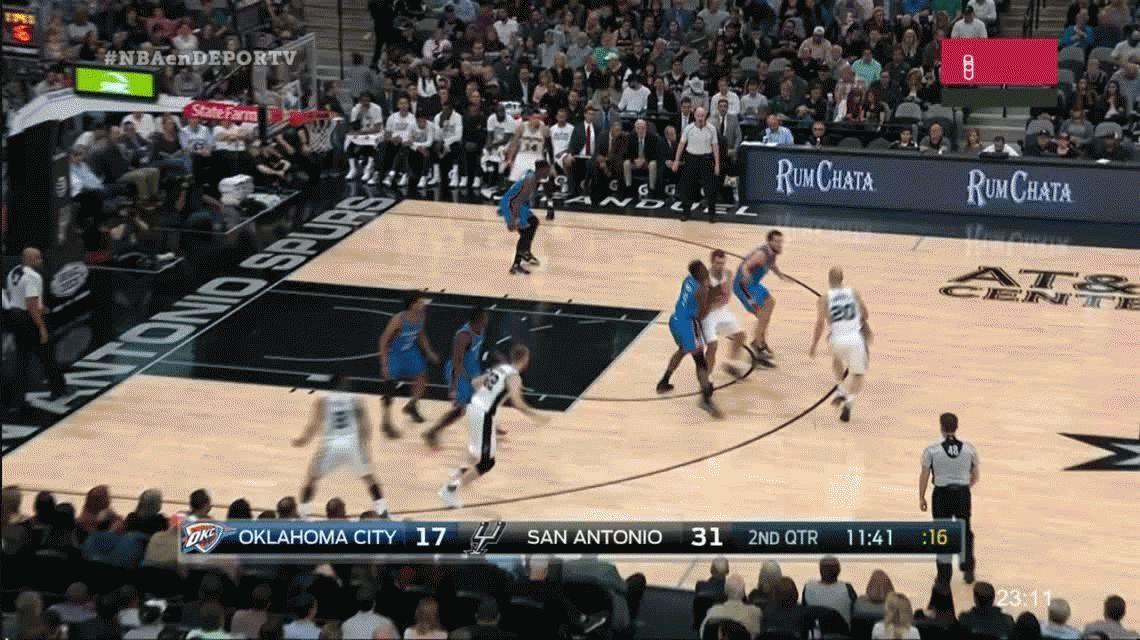 Inoxidable: partidazo de Manu Ginóbili para San Antonio Spurs frente a Oklahoma CityThunder