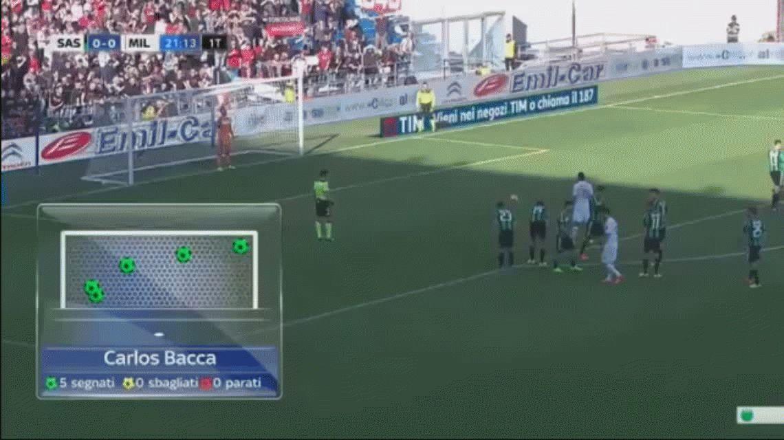 Milan ganó gracias a un penal que Carlos Bacca pateó con los dos pies