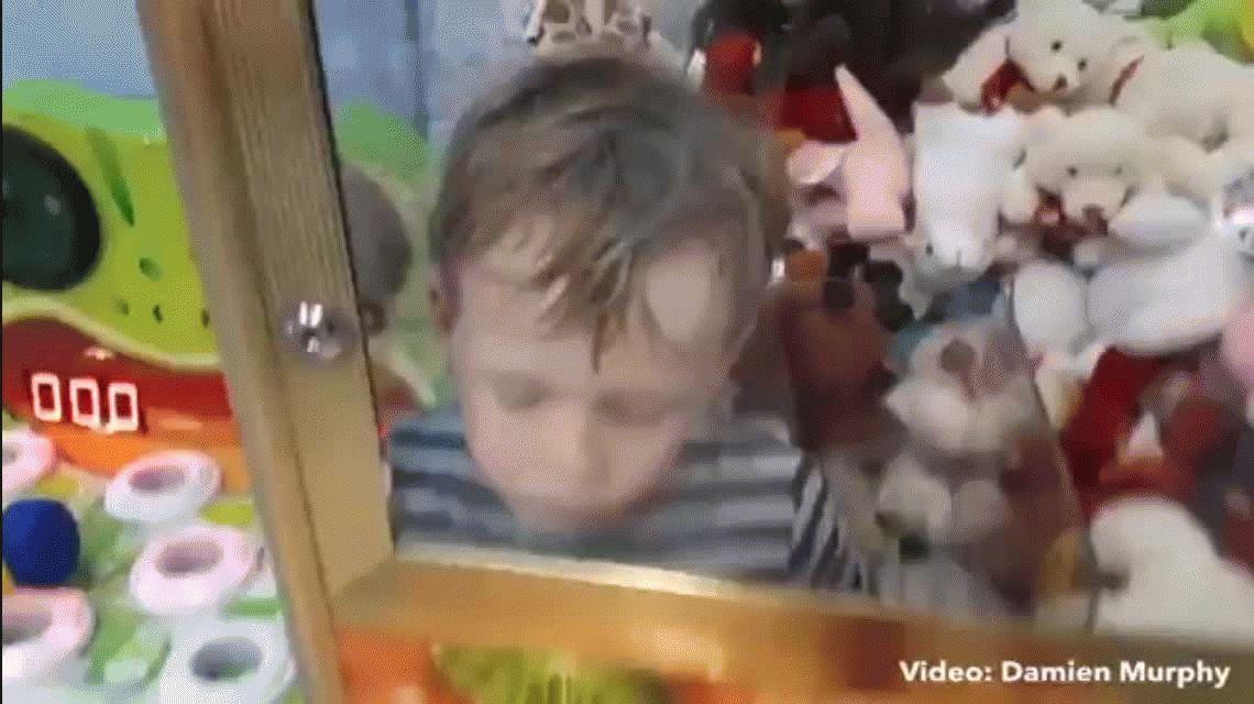 VIDEO: Le gustó un peluche de la máquina grúa y se metió a buscarlo