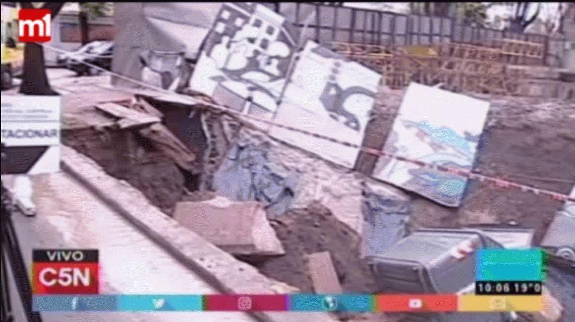 Núñez: una obra en construcción se derrumbó en medio de la tormenta