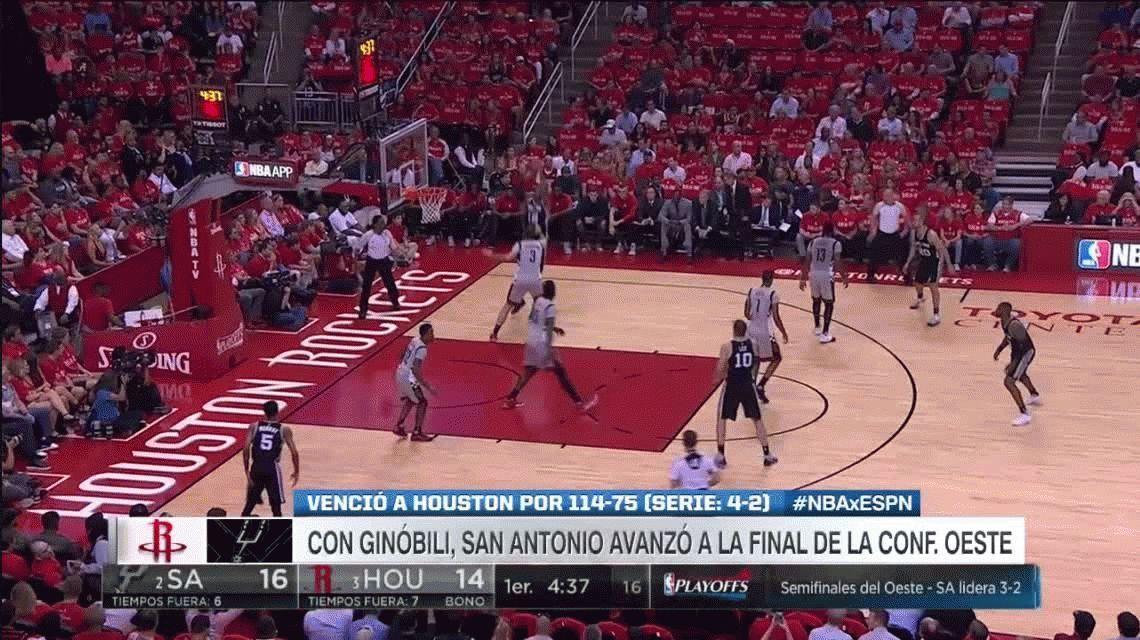 San Antonio Spurs, con Ginóbili, le ganó a Houston Rockets y es finalista en el Oeste