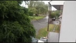 Un vecino salió con su kayak a la calle