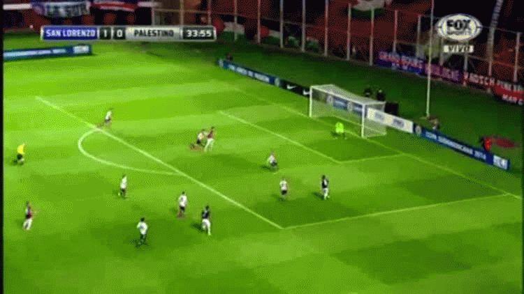 Nicolás Blandi anotó el segundo gol de San Lorenzo ante Palestino por los cuartos de final de la Copa Sudamericana