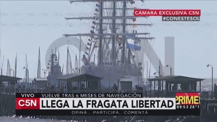 Así llega la Fragata Libertad al país.