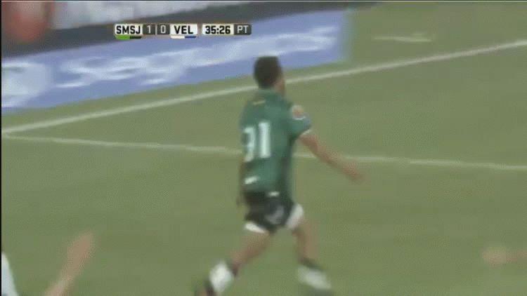 Emanuel Dening anotó el segundo gol de San Martín de San Juan ante Vélez