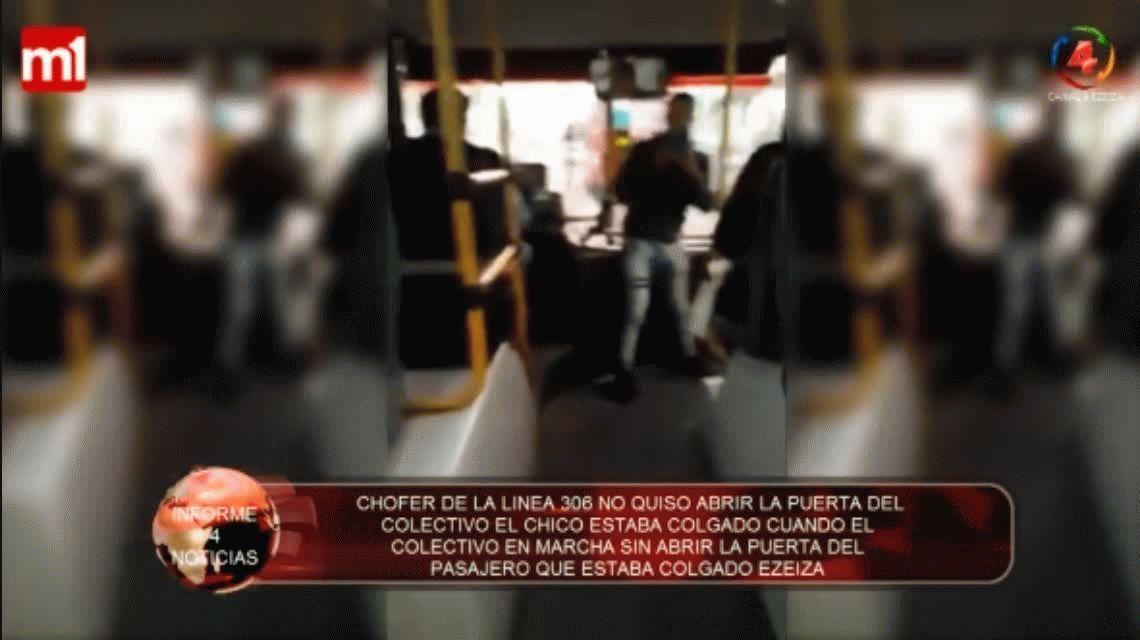 VIDEO: Un colectivero no le abrió la puerta a un pasajero y lo llevó colgado