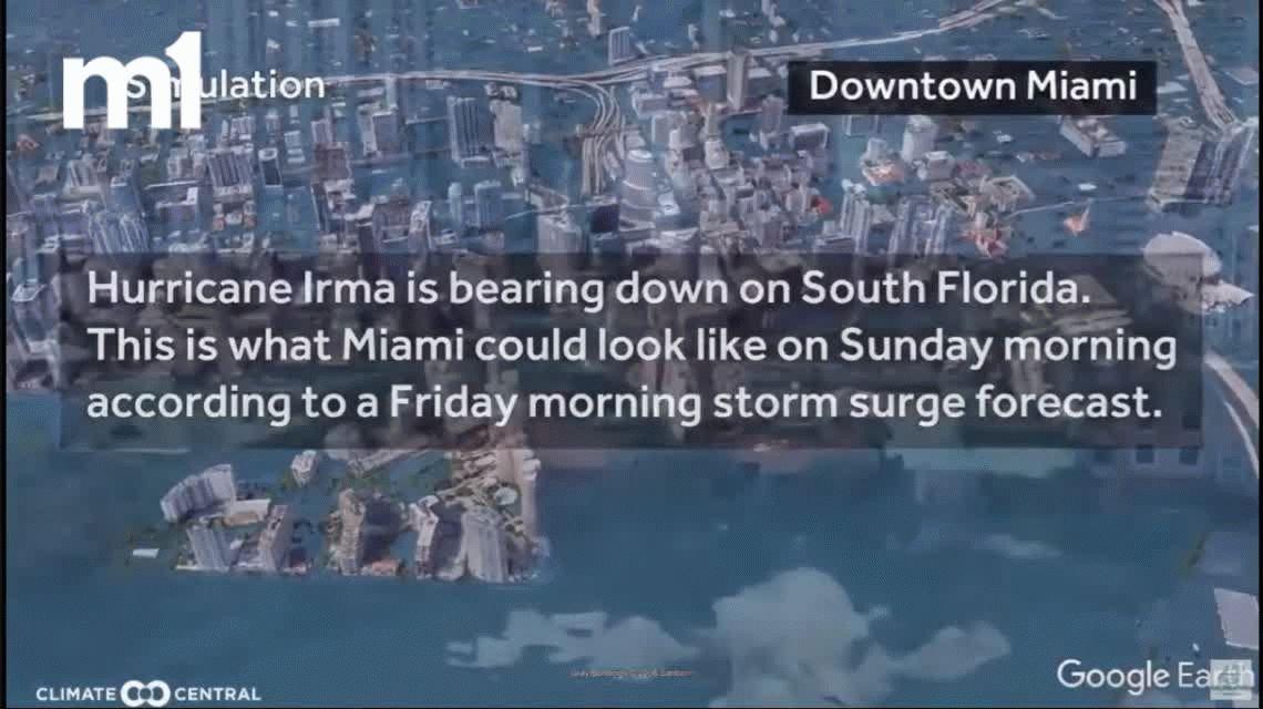 El video que da miedo: así quedaría Miami tras el paso del huracán Irma