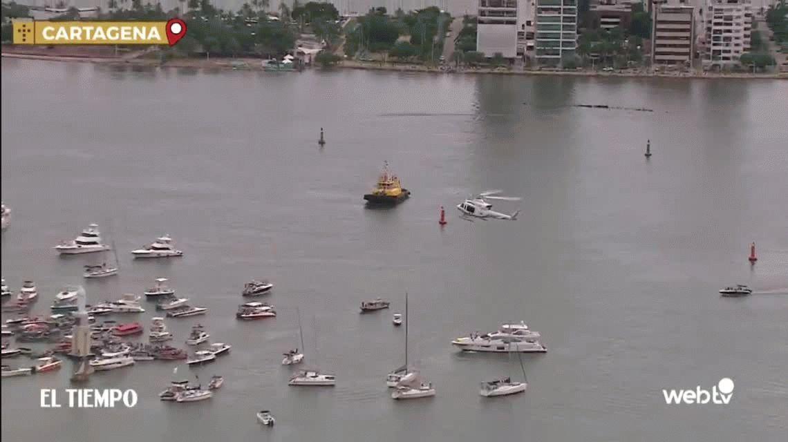 Papa Francisco bendijo desde un helicóptero a la virgen de la Bahía en Cartagena