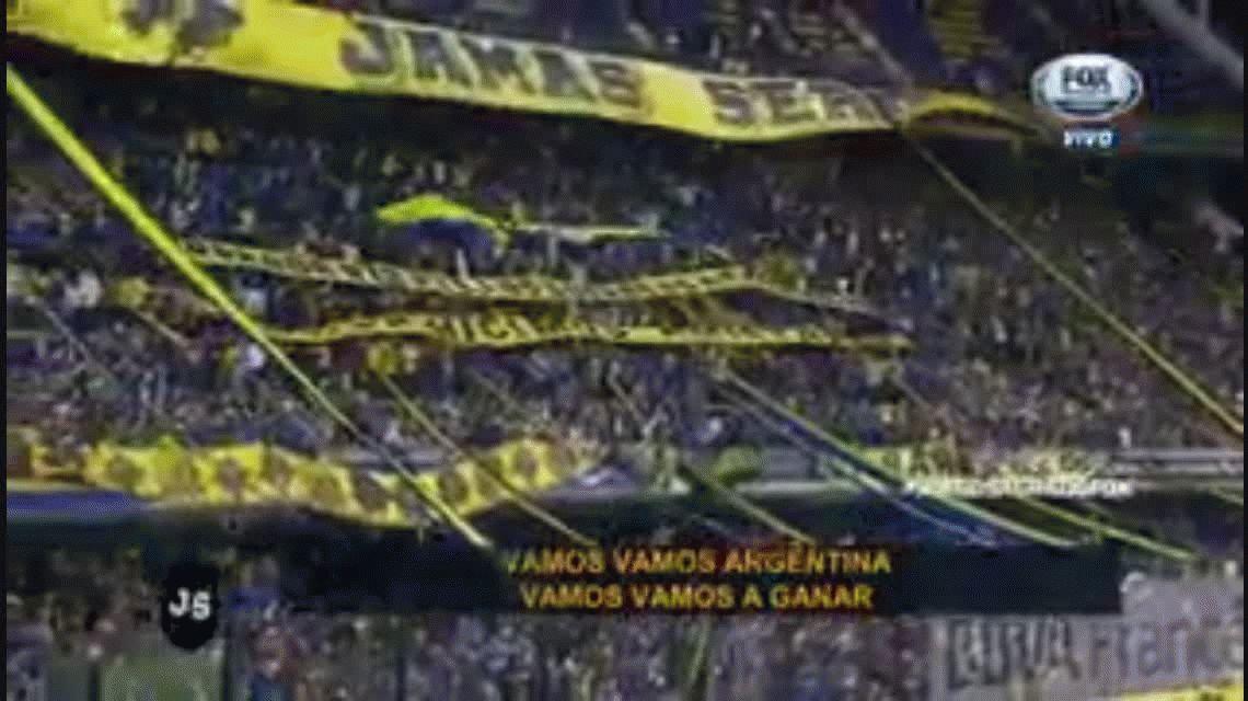 VIDEO La hinchada de Boca cantando vamos, vamos Argentina y el Himno Nacional