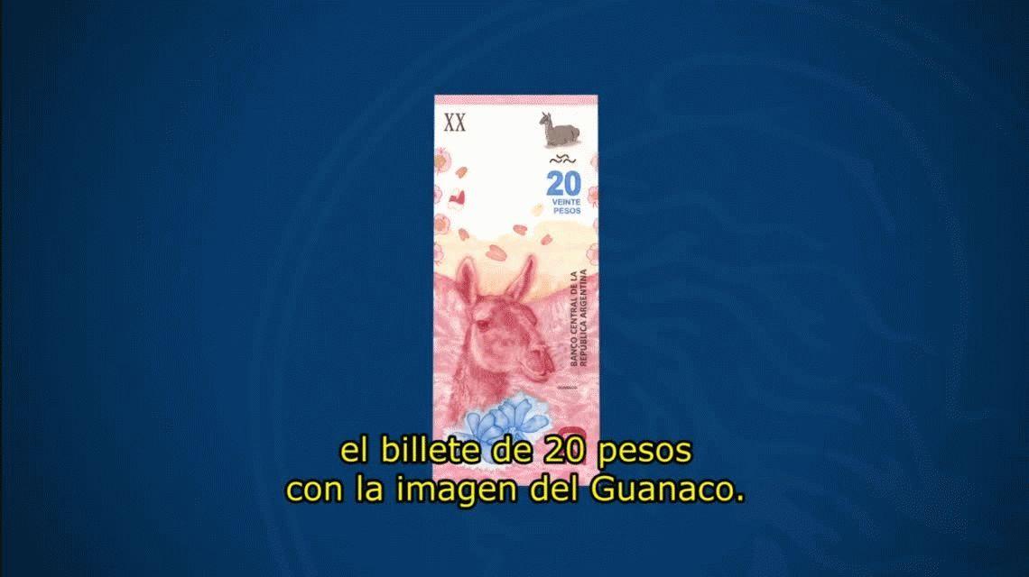 El nuevo billete de $20, que reemplazará la imagen de Rosas por un guanaco