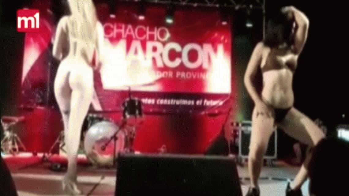 Escandaloso show de strippers en el acto de un senador santafesino