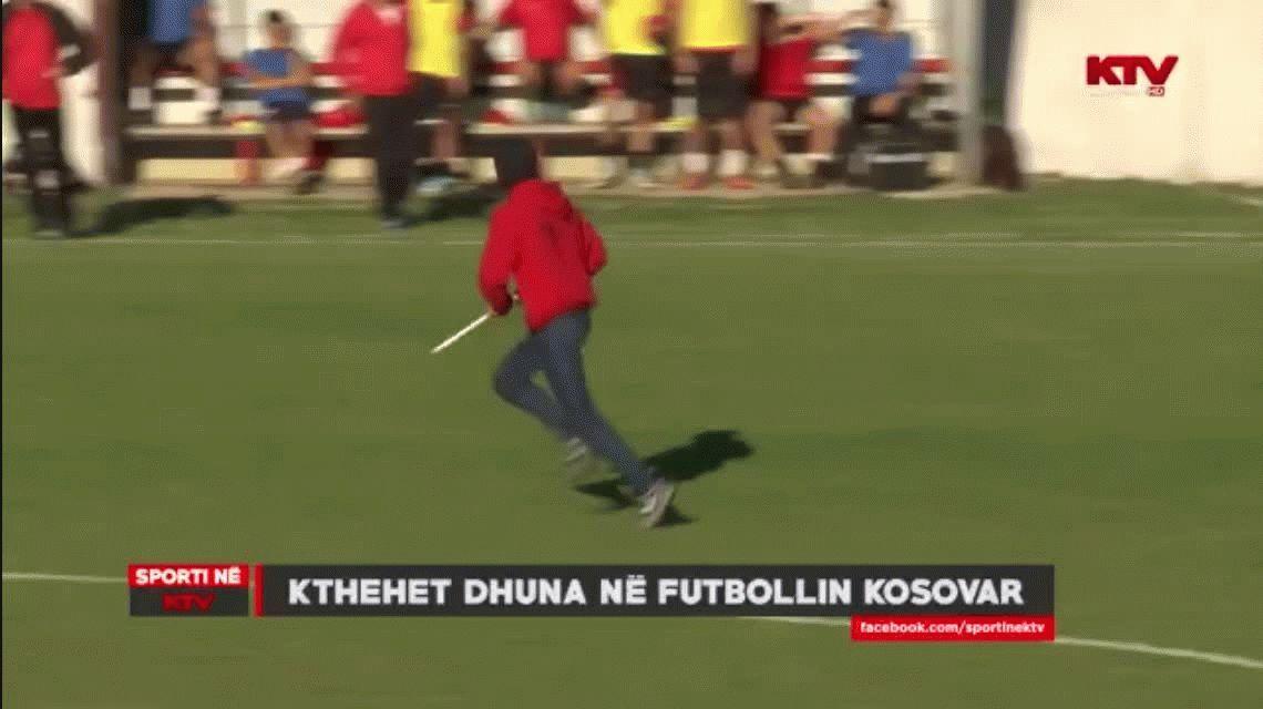 Un arquero en Kosovo hizo un gol agónico y casi le parten la espalda con un palo