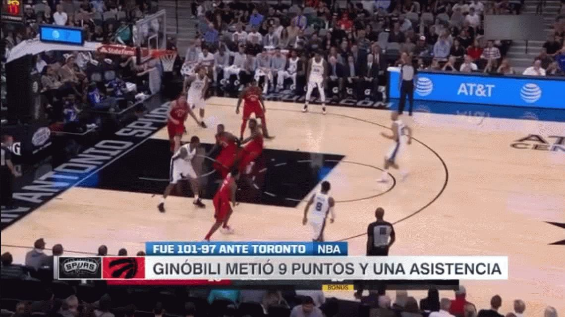 San Antonio Spurs 101 - Toronto Raptors 97: gran actuación de Manu Ginóbili