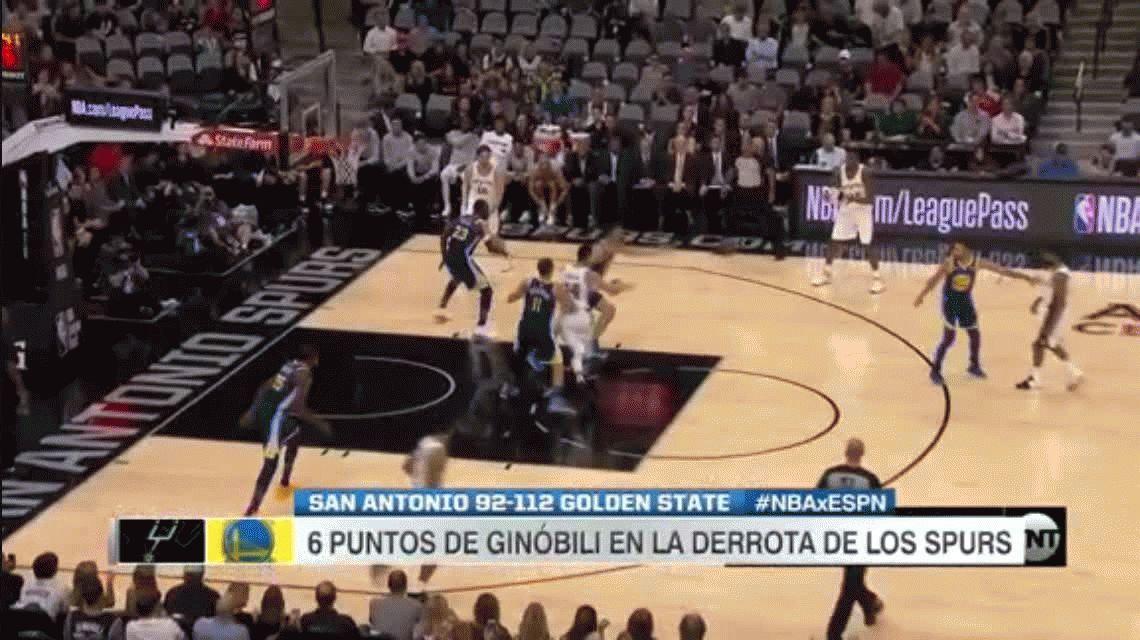 Partido irregular de Manu Ginóbili y derrota para los Spurs ante el campeón Warriors