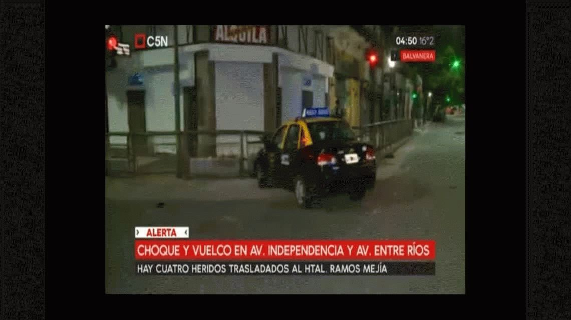 Violento choque y vuelco en Independencia y Entre Ríos: cuatro heridos