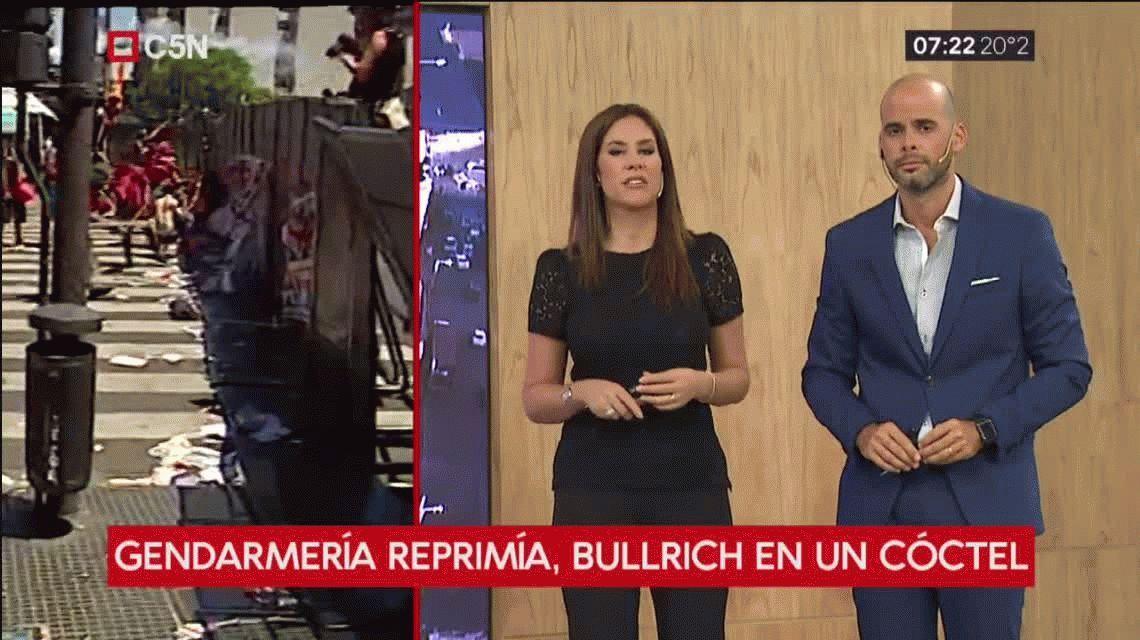 Mientras Gendarmería reprimía a periodistas, Bullrich estaba en un cóctel con colegas