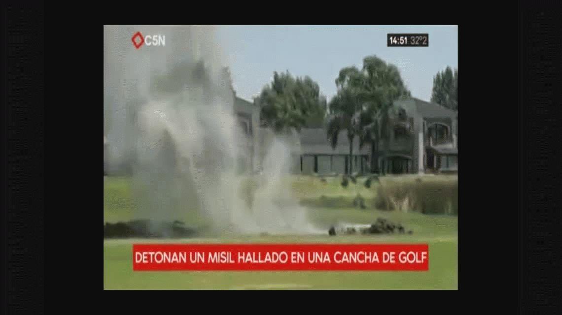 Detonaron un misil hallado en una cancha de golf de Escobar