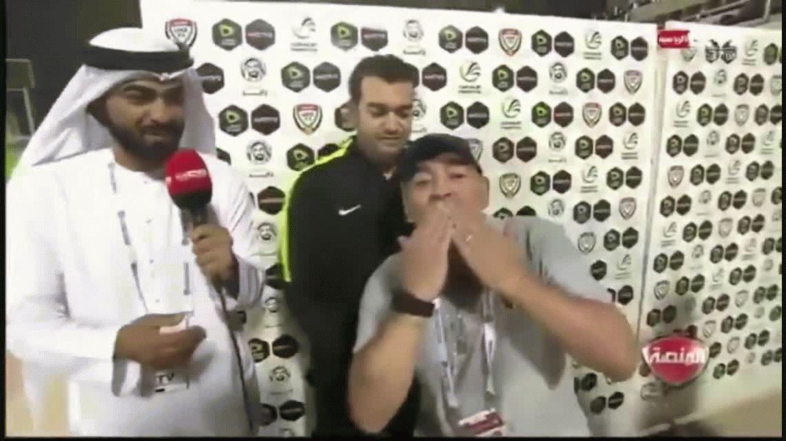 El alocado festejo de Maradona por el triunfo agónico del Fujairah