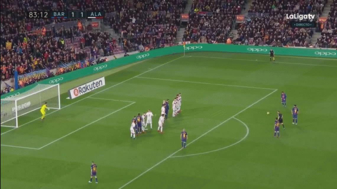Con este golazo, Messi le dio la victoria al Barcelona ante Alavés