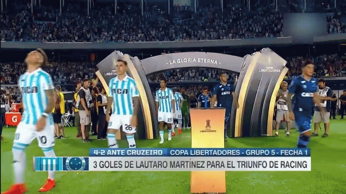 Con tres goles de Lautaro Martínez, Racing venció a Cruzeiro