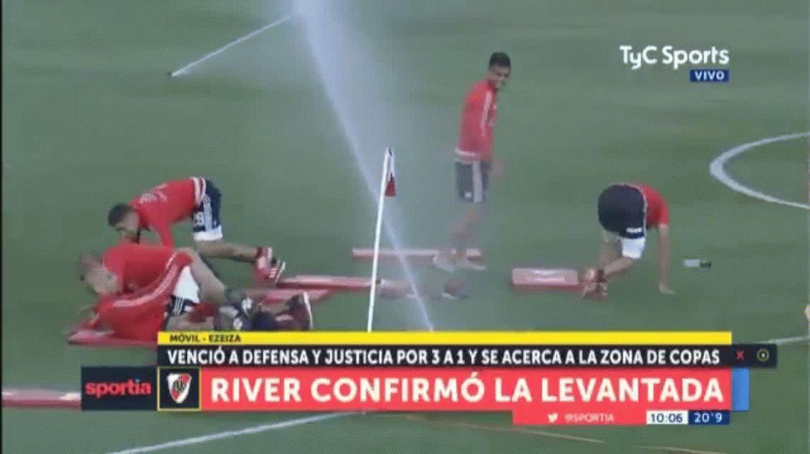 La broma de Gallardo a sus jugadores durante la práctica de River