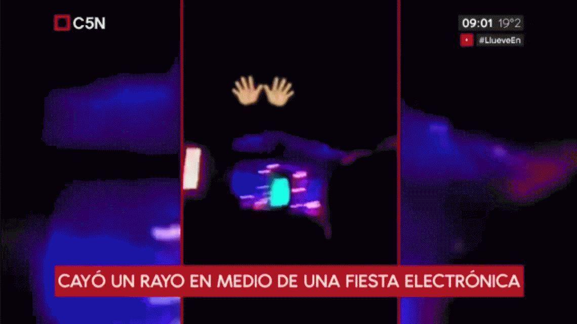 VIDEO: Cayó un rayo en una fiesta electrónica y el escenario se vino abajo