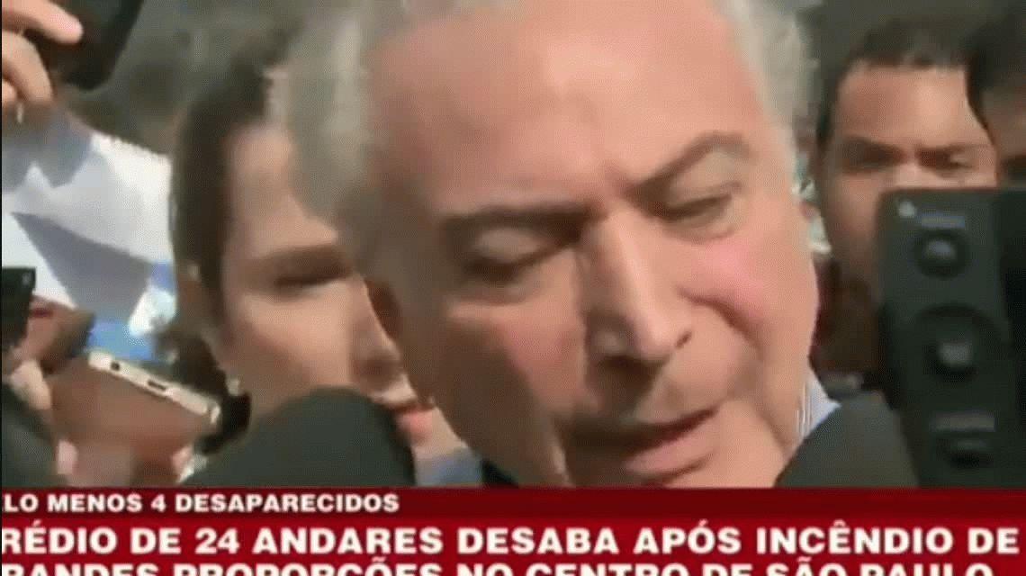 Brasil: abuchearon a Temer cuando fue a visitar el edificio que se derrumbó en Sao Pablo