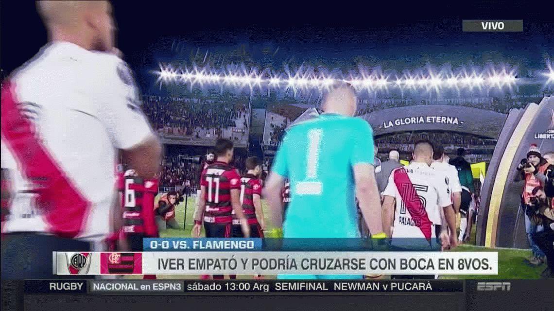 River empató con Flamengo y terminó primero en su grupo