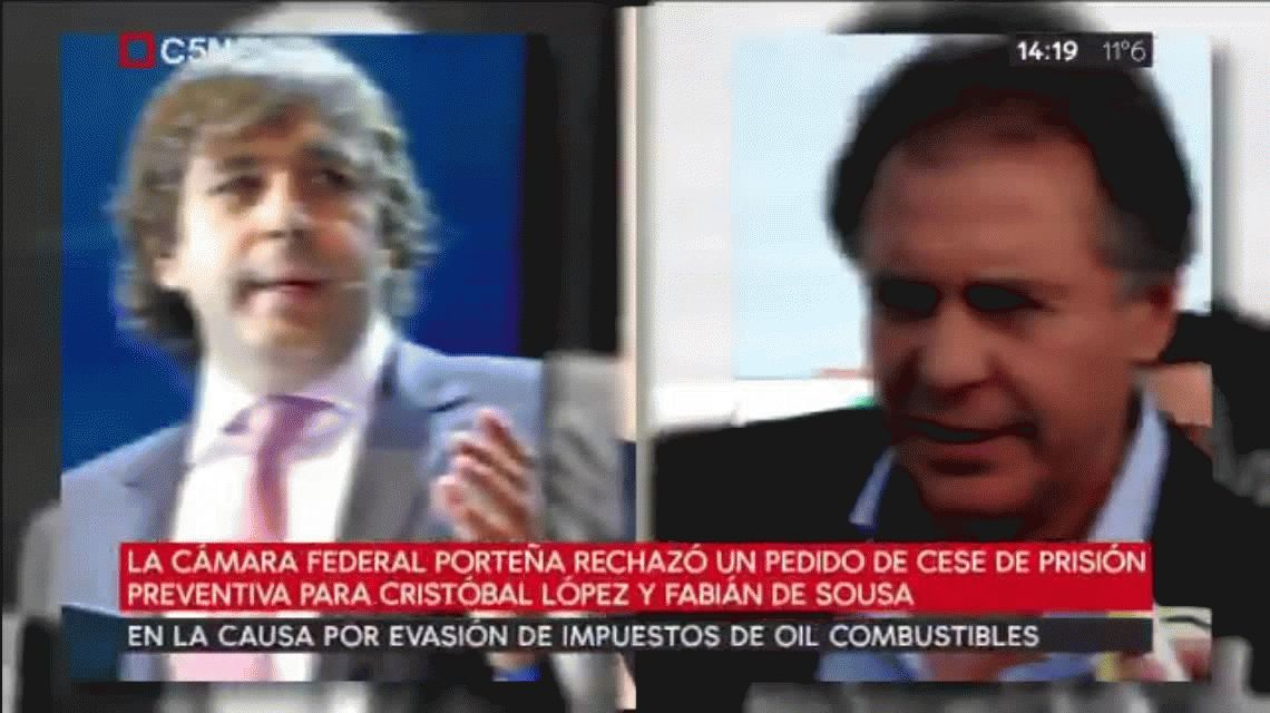 Rechazan el pedido de cese de prisión preventiva para Cristobal López y Fabián De Sousa