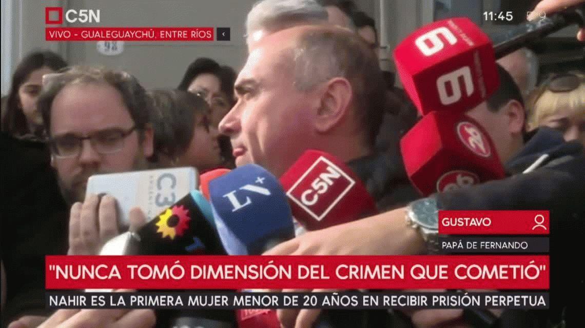 El papá de Fernando Pastorizzo, tras la condena a Nahir: Va a morir día a día en la cárcel
