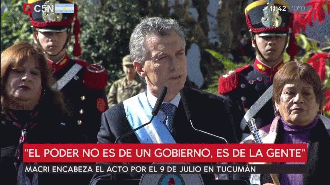 Macri, en el acto por el Día de la Independencia: Estamos pasando por una tormenta