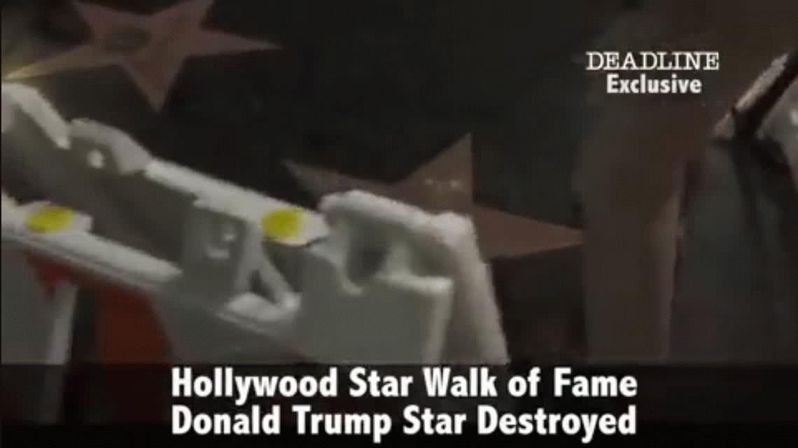 Destruyeron la estrella de Trump en el Paseo de la Fama de Hollywood