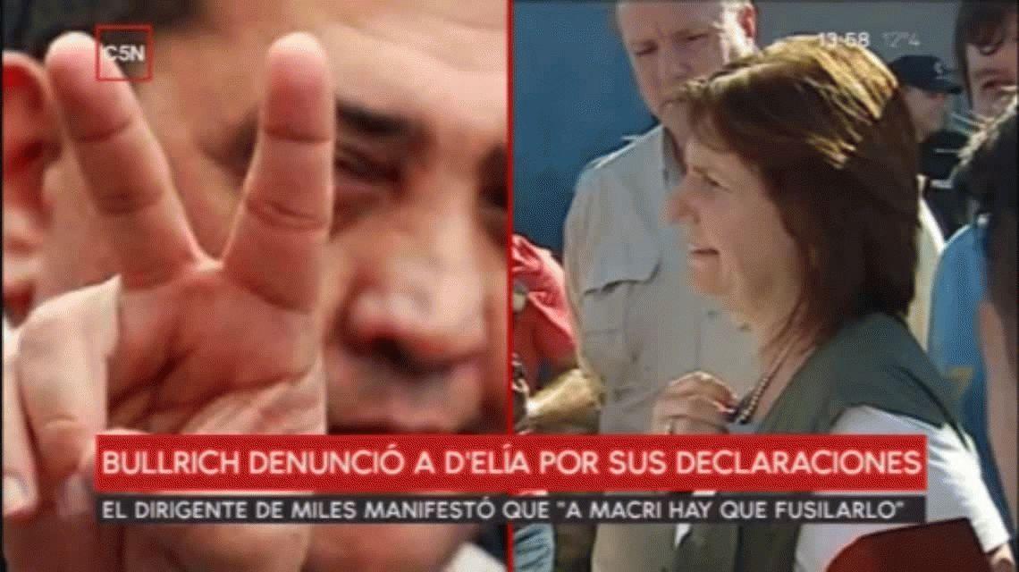 Patricia Bullrich denunció a DElía por pedir que fusilen a Macri