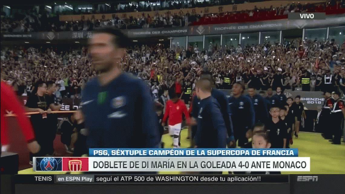 Di María metió dos goles y el PSG se quedó con la Supercopa de Francia