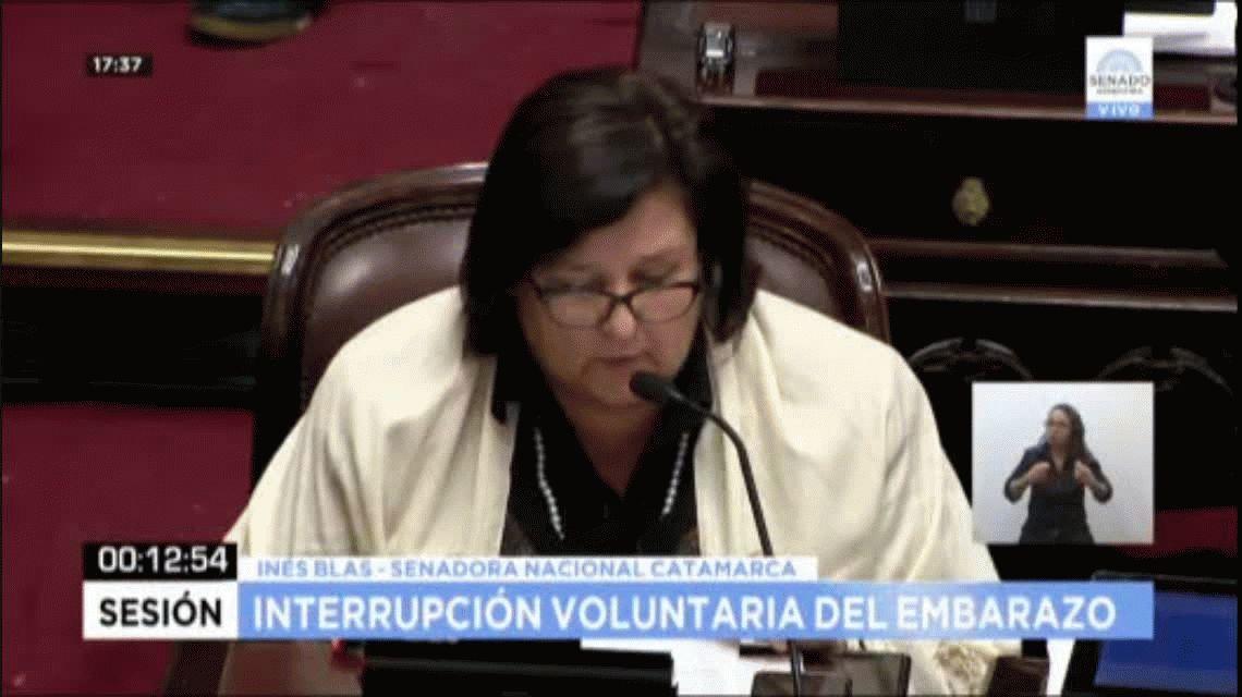 Inés Blas votó en contra del aborto legal porque puede servir para limpiar el honor de un abusador