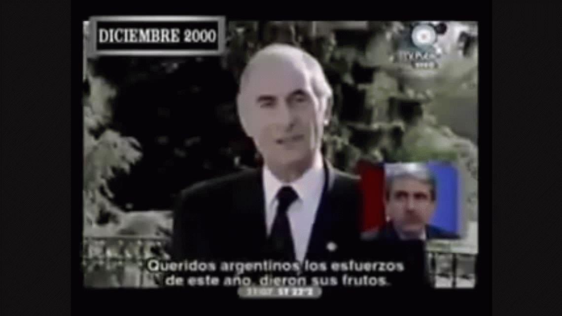 Fernando De La Rúa anunciando el Blindaje