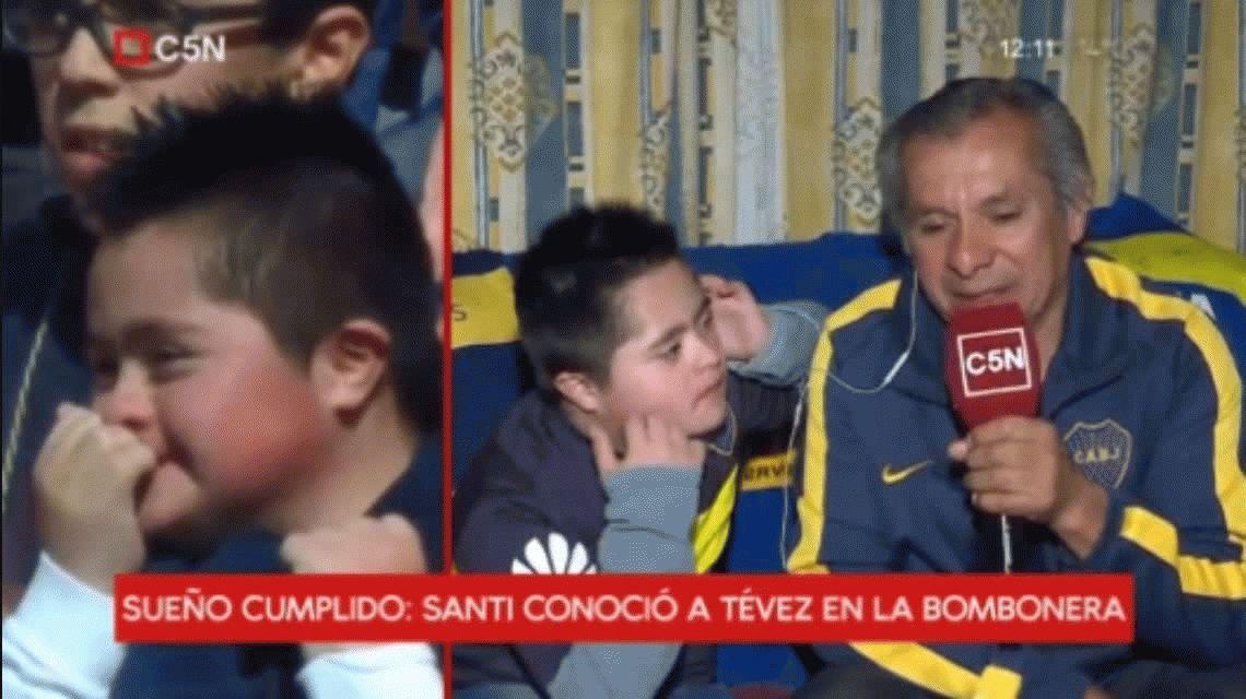 Es mi ídolo: habló Santi, el nene que emocionó a Tevez en la Bombonera