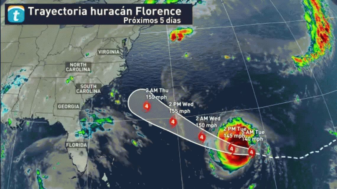 Terror en Estados Unidos por la llegada del huracán Florence