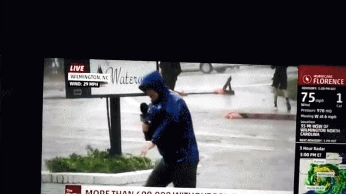 Papelón: el tremendo fake de un periodista que lo barría el huracán Florence