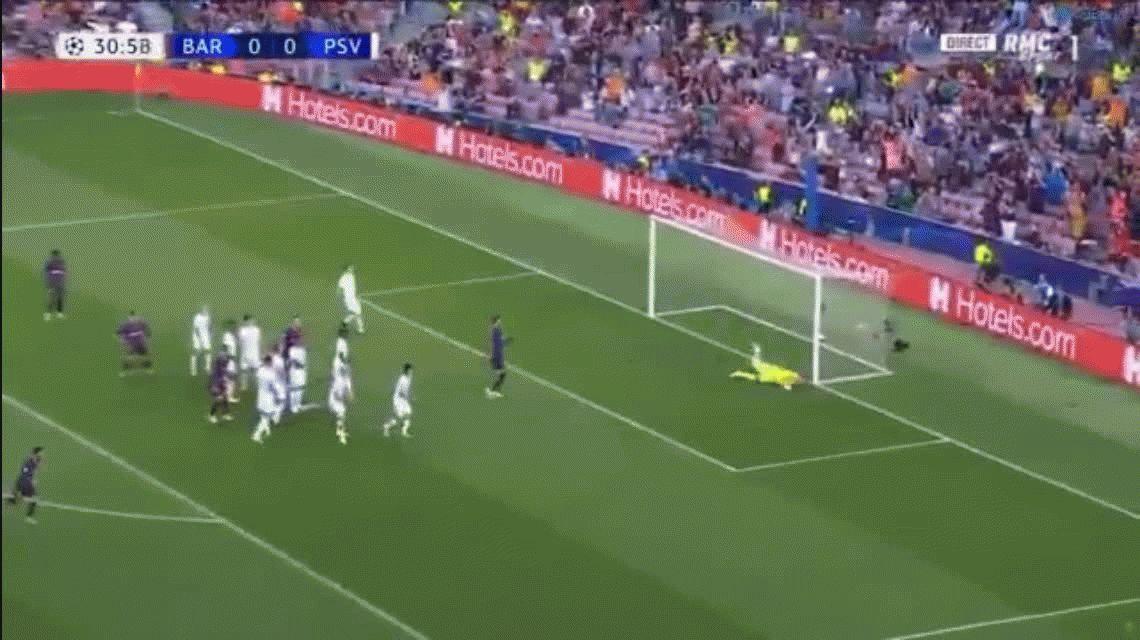Andá a buscarla al ángulo: la perlita de Messi en el debut del Barcelona en la Champions